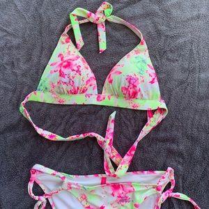 Victoria's Secret neon floral bikini set. Sz large